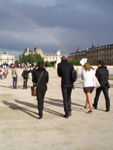 Centenary rainbow: Leaving L'Oreal's centenary Welcome, Jardin des Tuileries, Paris.